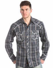90 Proof Men's Long Sleeve Plaid Snap Shirt-Grey