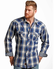 90 Proof Men's Long Sleeve Plaid Snap Shirts - Indigo