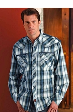 90 Proof Men's Long Sleeve Plaid Western Snap Shirt with Twill Tape Trim - Blue (Closeout)