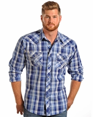 90 Proof Men's Long Sleeve Poplin Plaid Snap Shirt - Blue