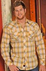 90 Proof Mens Long Sleeve Plaid Snap Western Shirt - Canary (Closeout)