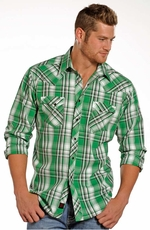 90 Proof Mens Long Sleeve Plaid Snap Western Shirt - Green