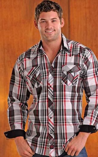 90 Proof Mens Long Sleeve Plaid Snap Western Shirt with Embroidery - White/Black/Red