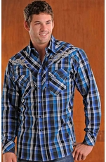 90 Proof Mens Long Sleeve Plaid Western Shirt with Embroidery - Blue
