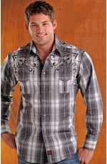 90 Proof Mens Long Sleeve Plaid Western Shirt with Embroidery - Charcoal