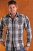 90 Proof Mens Long Sleeve Plaid Western Shirt with Embroidery - Charcoal (Closeout)