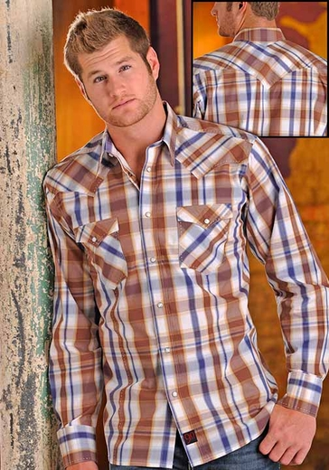 90 Proof Mens Long Sleeve Plaid Western Snap Shirt - Brown/Blue