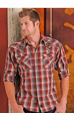 90 Proof Mens Long Sleeve Plaid Western Snap Shirt with Cross Embroidery - Red