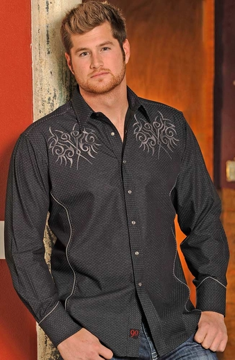 90 Proof Mens Long Sleeve Stripe Snap Western Shirt with Embroidery - Black