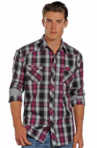90 Proof Long Sleeve Plaid Snap Western Shirt - Black/Pink (Closeout)