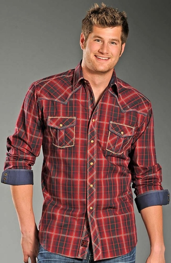 90 Proof Mens Long Sleeve Plaid Snap Western Shirt - Red
