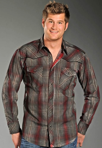 90 Proof Mens Long Sleeve Plaid Snap Western Shirt - Scarlet (Closeout)