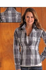 90 Proof Womens Long Sleeve Plaid Western Snap Shirt with Embroidery - Charcoal