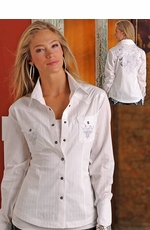 90 Proof Womens Long Sleeve Satin Stripe Snap Western Shirt with Embroidery - White
