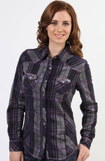 Adiktd Womens Long Sleeve Plaid Snap Western Shirt - Purple (Closeout)