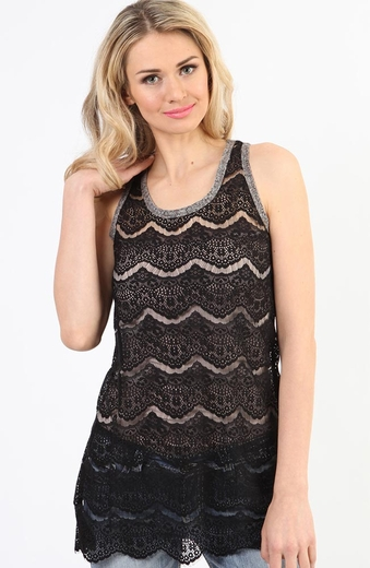 Adiktd Womens Lace Tank Top - Black
