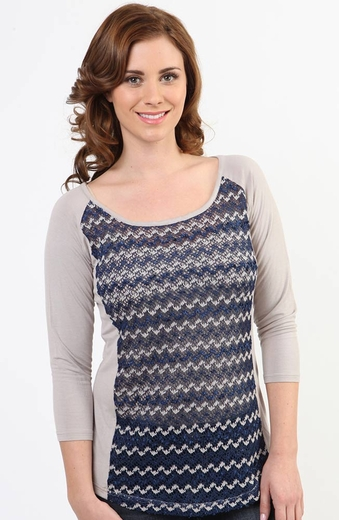 Adiktd Womens 3/4 Sleeve Crochet Top - Navy