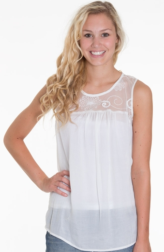 Adiva Womens Lace Neck Tank Top - White
