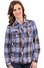 Adkitd Womens Long Sleeve Plaid Crackle Washed Snap Western Shirt - Blue (Closeout)
