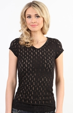Adkitd Womens Cap Sleeve Ripped Knit Tee Shirt - Black