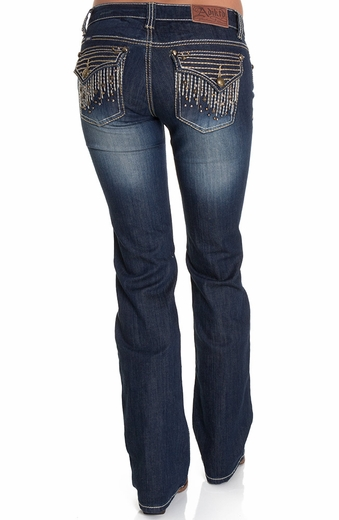 Adiktd Womens City Lights Lowrise Boot Cut Jeans
