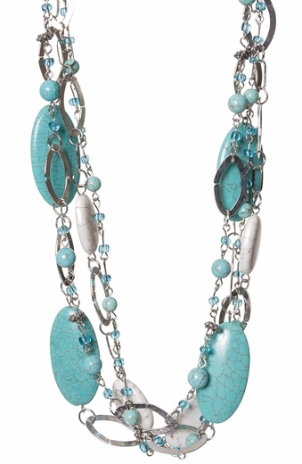 Adra Womens Turquoise and Natural Multi Strand Necklace (Closeout)