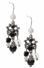 Adra Womens Black Chandelier Earrings