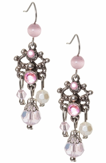 Adra Womens Pink Chandelier Earrings