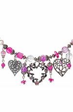 Adra Womens Pink Heart Coil Necklace (Closeout)