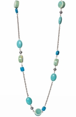 "Adra Womens Turquoise and Green 36"" Neckalce (Closeout)"