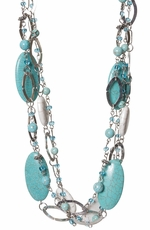 Adra Womens Turquoise and Natural Multi Strand Necklace