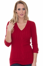 Allison Brittney Women's Ribbed Knit Sweater - 4 Colors (Closeout)