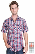 American Heritage Mens Short Sleeve Plaid Button Down Western Shirt