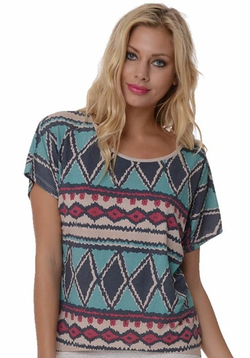 Anama Women's Tribal Print Top - Pool