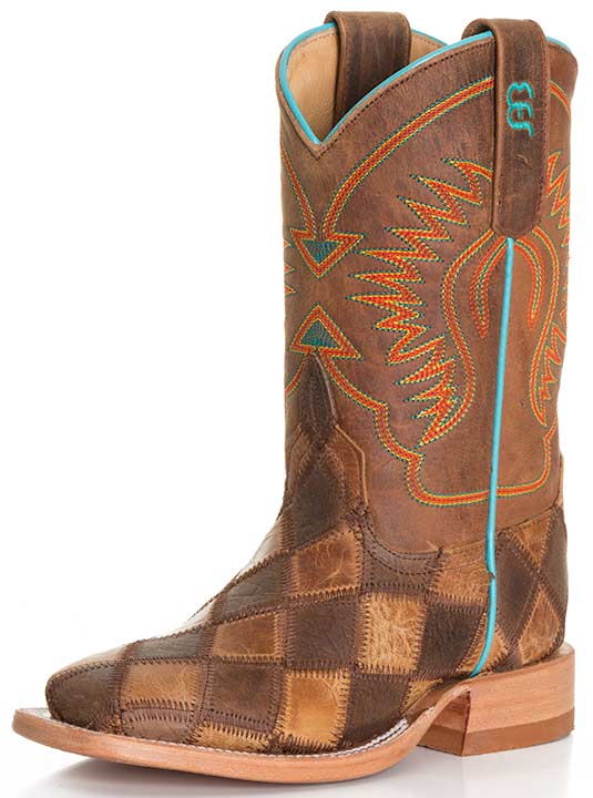 Anderson Bean Kid's Patchwork Cowboy Boots - Brown