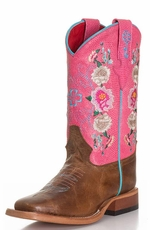 Anderson Bean Kid's Rose Lizard Floral Cowboy Boots - Pink/ Brown (Closeout)