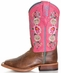 Anderson Bean Kid's Rose Lizard Floral Cowboy Boots - Pink/ Brown
