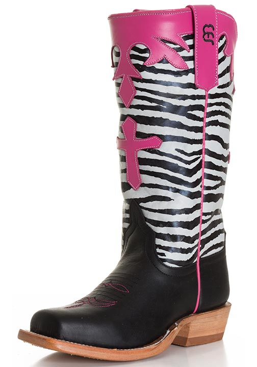 Anderson Bean Kid's Tall Zebra Top with Cross Cowboy Boots - Black