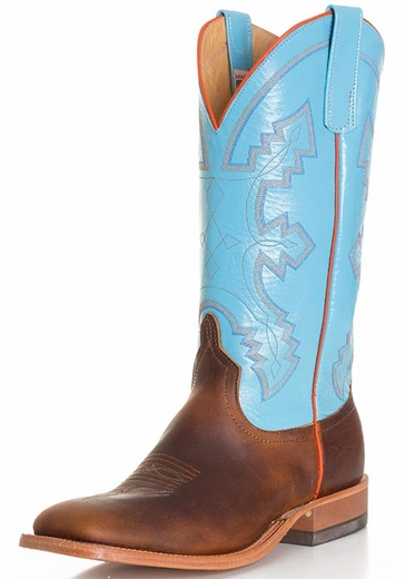 Anderson Bean Men's Briar Lupine Kidskin Cowboy Boots - Brown/ Blue