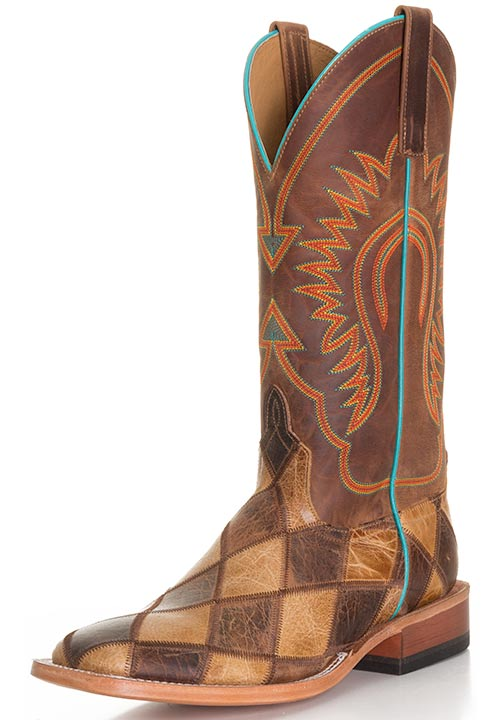 Anderson Bean Men's Crazy Train Patchwork Cowboy Boots - Honey/Brown
