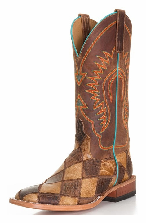 Anderson Bean Men's Crazy Train Patchwork Cowboy Boots - Honey / Brown