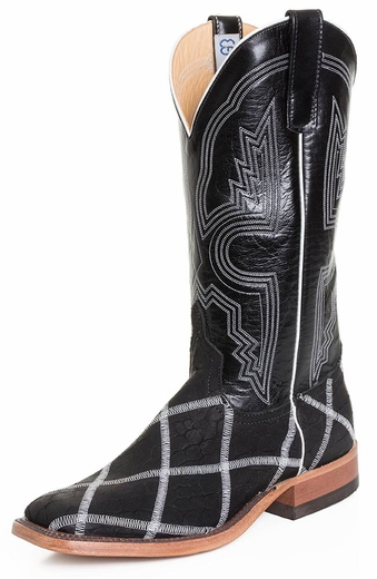 Anderson Bean Mens Loch Ness Square Toe Cowboy Boots with Glow in the Dark Stitching - Black