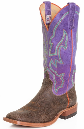 Anderson Bean Mens Square Toe Cowboy Boots - Chocolate/Purple (Closeout)