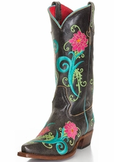 Anderson Bean Women's Floral Cowboy Boots - Black Cracktacular (Closeout)