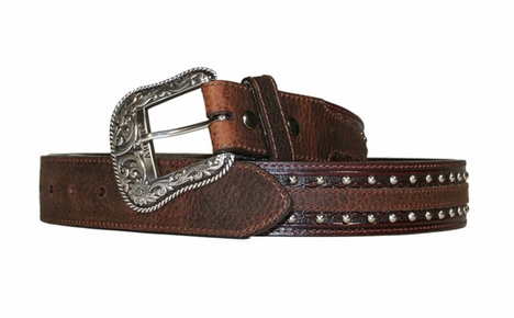 Ariat Austin Belt Collection - Men's Antique Brown/Brown Oiled Rowdy Belt