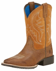 Ariat Children's Hybrid Rancher Square Toe Cowboy Boots - Rustic Bark/Tan