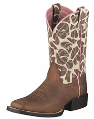 Ariat Girl's Quickdraw Cowboy Boots - Brown Pull Up/Giraffe Print (Closeout)
