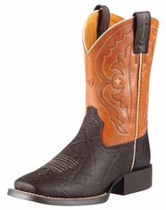Ariat Children's Quickdraw Boots - Chocolate Elephant Print/Mandarin (Closeout)
