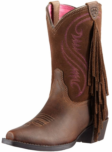 Ariat Childrens Snip Toe Fringe Cowboy Boots - Distressed Brown/Chocolate (Closeout)