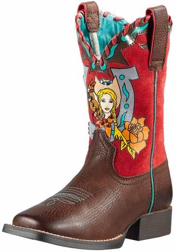 Ariat Childrens Mustang Molly Cowboy Boots - Remuda Brown/Molly